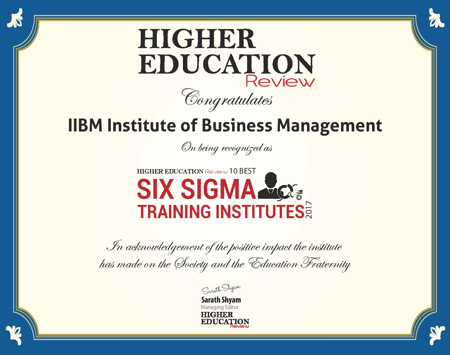 Iibm six sigma certification courses iibm six sigma certificate awards and accolades xflitez Gallery